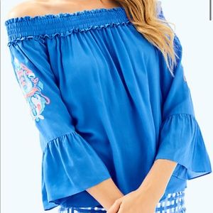 Lily Pulitzer Off the Shoulder Top in Blue